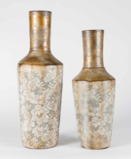 Set of 2 Rib Vases in Golden Curtain Finish