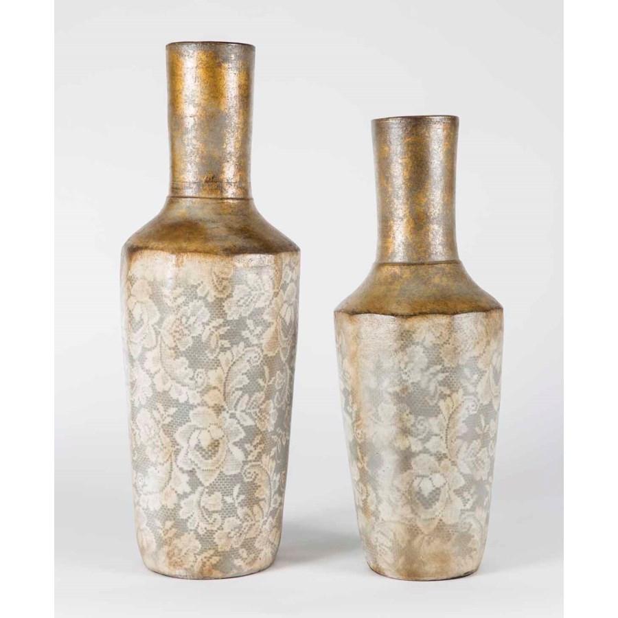 Set of 2 Rib Vases in Golden Curtain Finish