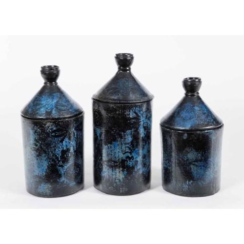 Set of 3 Candy Box Jars in Midnight Azul Finish