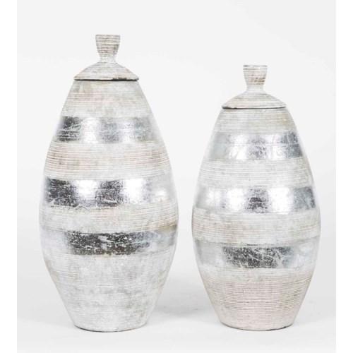 Set of 2 Jars w/Lid in Metallic Stripes Finish