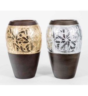 Set of 2 Flower Vases in Silver Leaf and Gold Leaf Finish