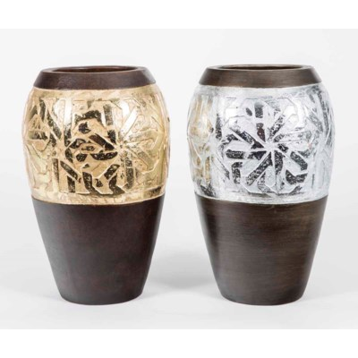 Set of 2 Flower Vases in Silver Leaf and Gold Leaf Finish