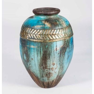 Large Egg Floor Jar in Triton Blue Finish