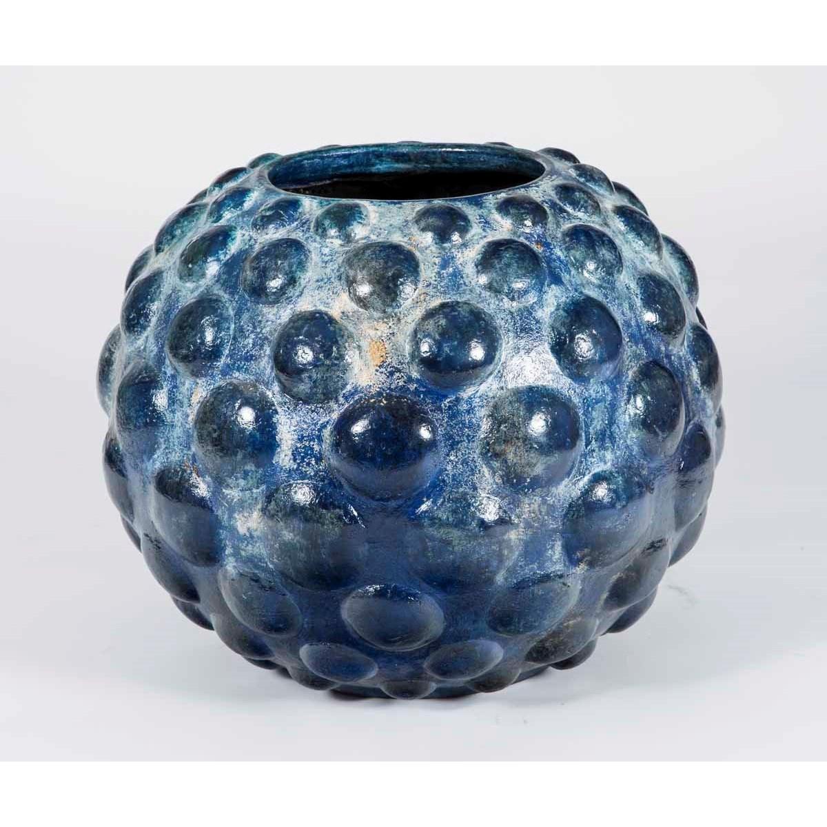 Large Floor Pot in Blue Cloud Finish