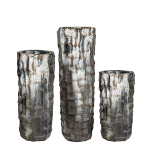 Set of 3 Large Floor Vases in Urban Black Finish