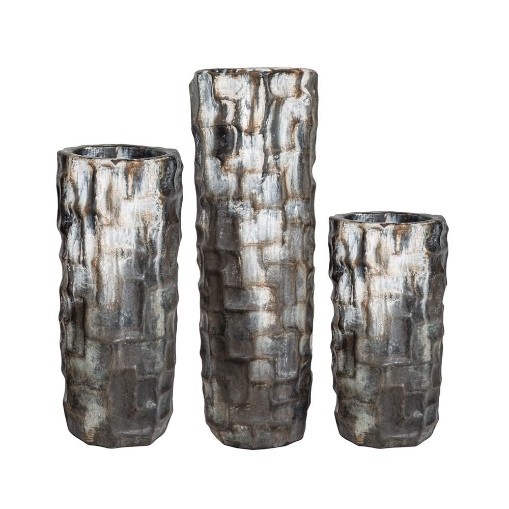 Set of 3 Large Floor Vases in Urban Black Finish