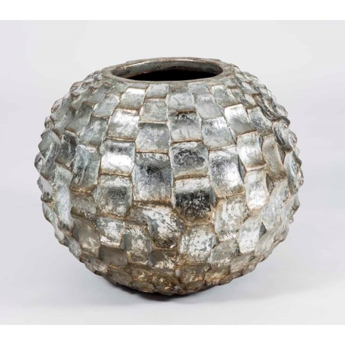 Large Floor Mesh Pot in Tinsel Finish