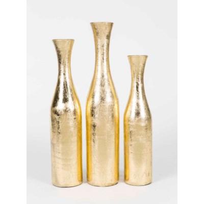 Set of 3 Floor Bottles in New Gold Finish