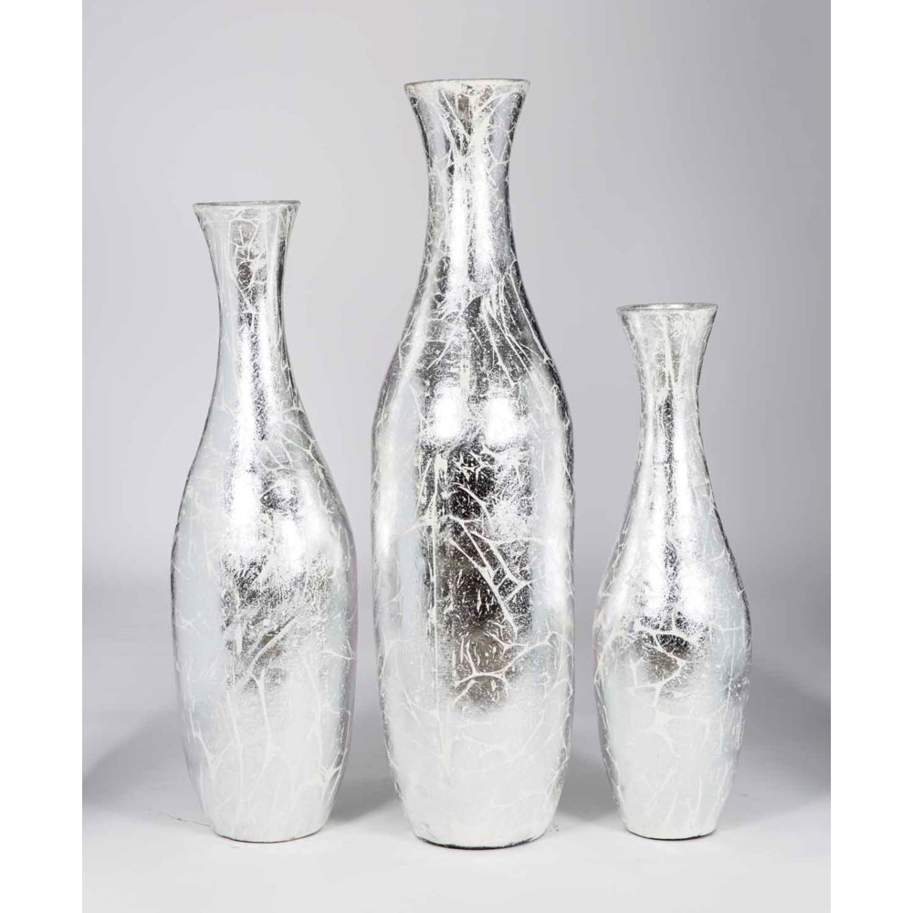 Set of 3 Floor Jugs in Silver Crackle Finish