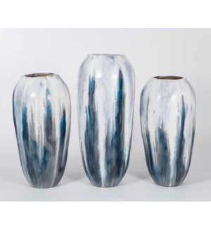 Set of 3 Floor Vases in Gray Cloud Finish
