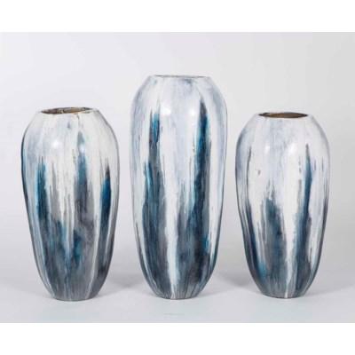 Set of 3 Floor Vases in Gray Cloud Finish