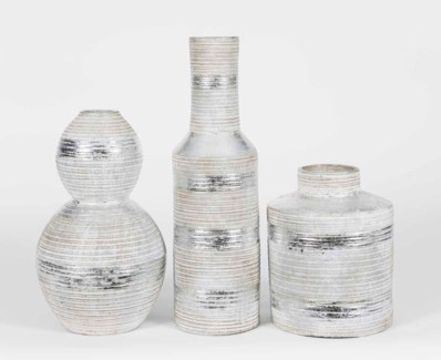 Set of 3 Table Vases in Argent Finish