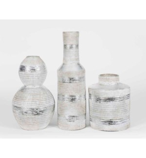 Set of 3 Table Vases in Metallic Stripes Finish