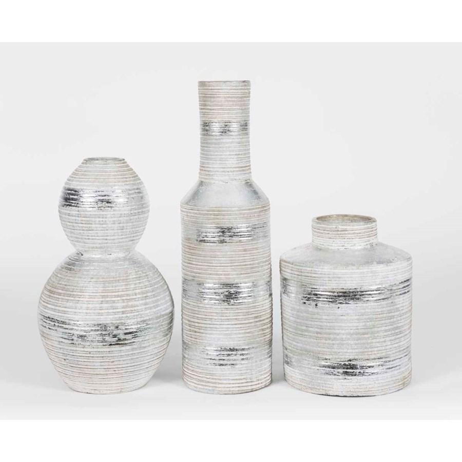 Set of 3 Table Vases in Metallic Stripes Finish