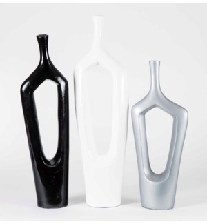 Set of 3 Table Vases w/Hole in Cloud, Shadow, and Pearl Finish