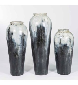 Set of 3 Floor Jars in Gray Night Finish