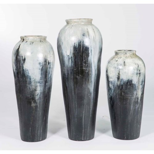 Set of 3 Floor Jars in Gray Night Finish