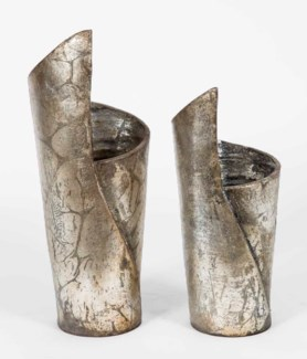 Set of 2 Sailboat Vases in Aged Silver Finish