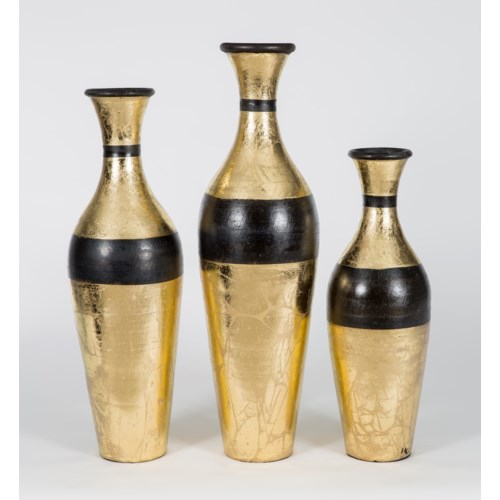 Set of 3 Table Bottles in New Gold Finish