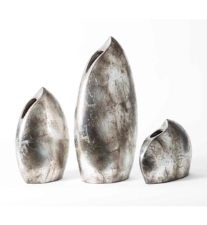Set of 3 Lunar Vases in Aged Silver Finish
