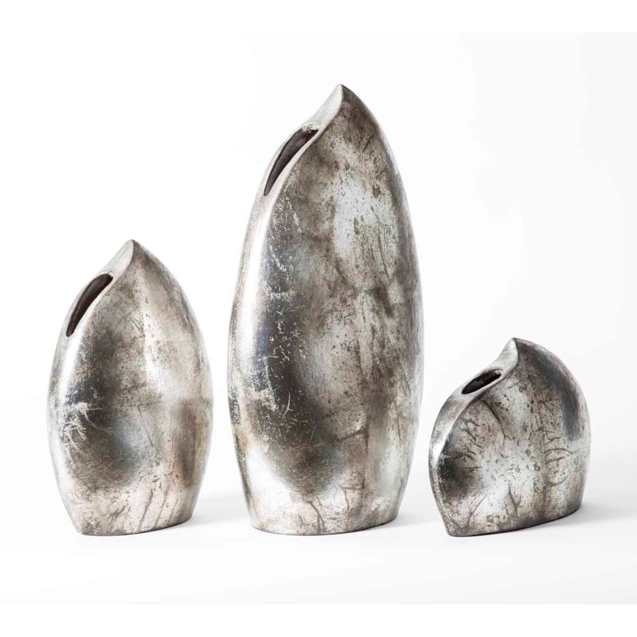 Set of 3 Lunar Vases in Aged Silver Finish