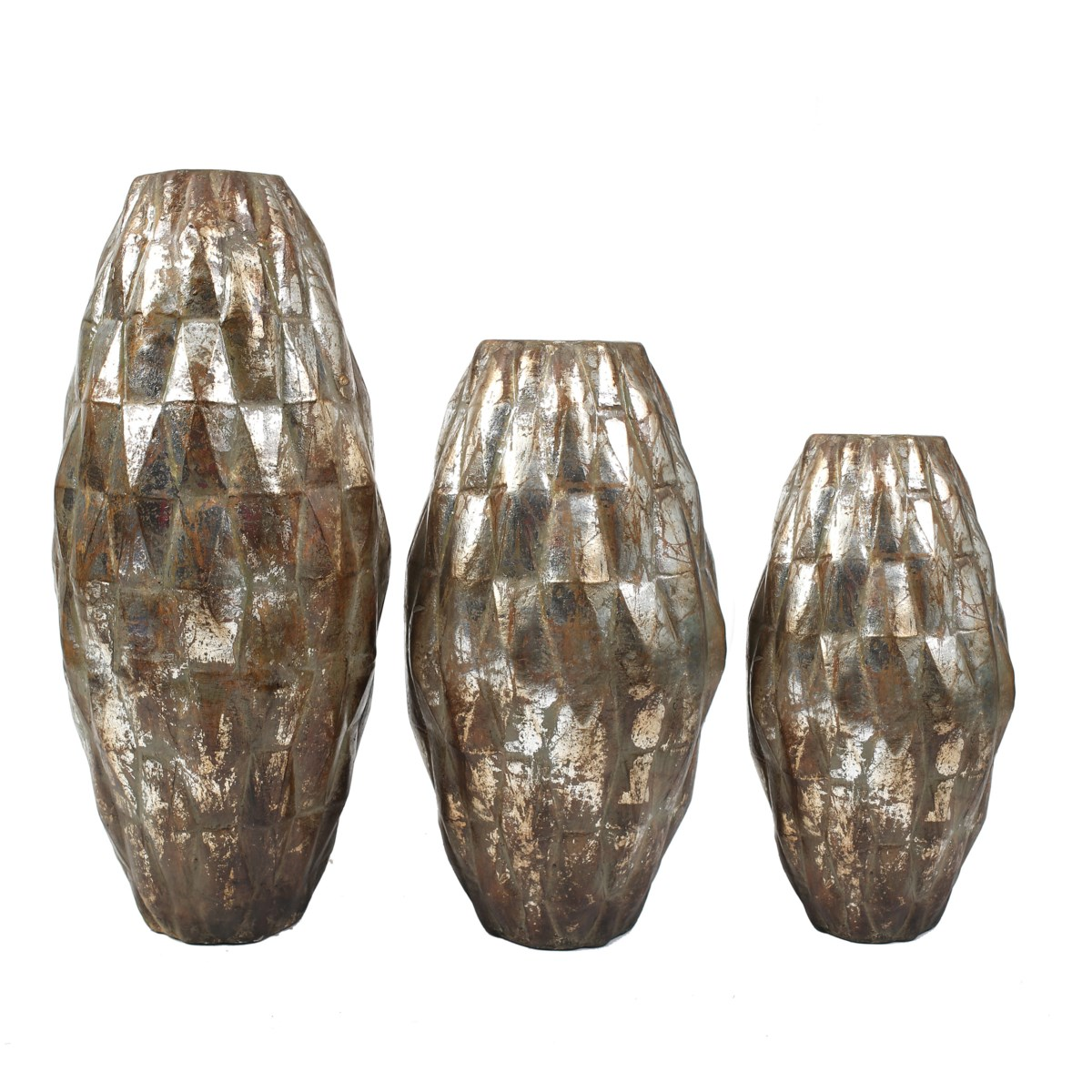 Set of 3 Diamond Floor Vases in Silver Finish
