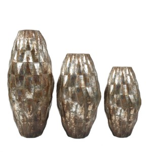 Set of 3 Diamond Floor Vases in Silver Finish