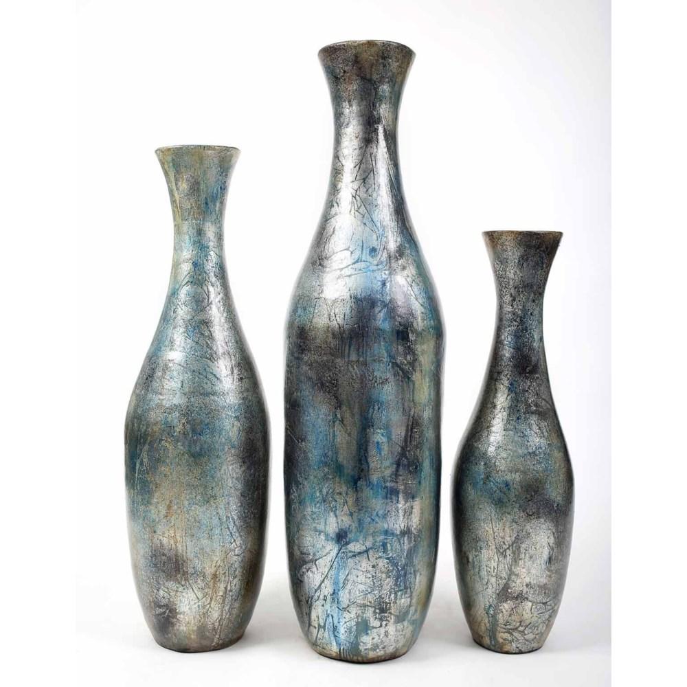 Set of 3 Floor Bottles in Silver Blue Finish
