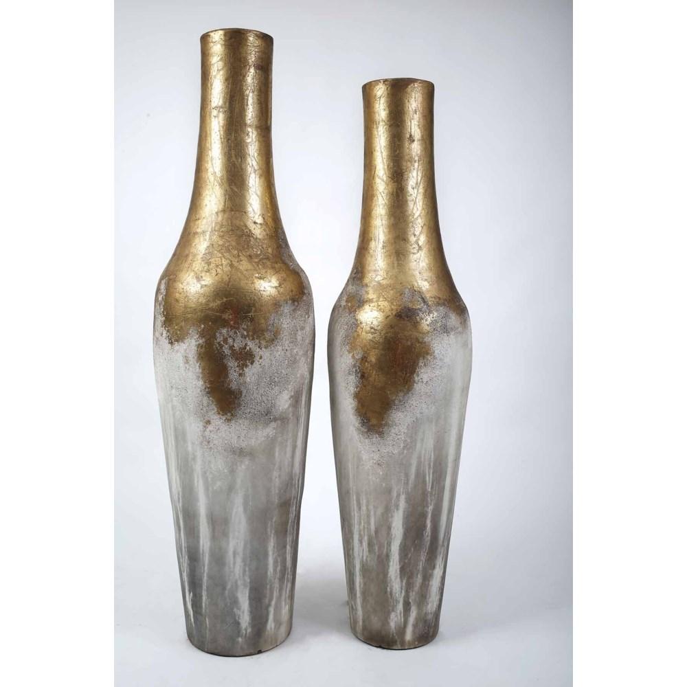 Set of 2 Lighthouse Floor Vases in Platinum Finish