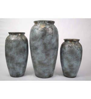 Set of 3 Floor Jugs in Blue Clouds Finish