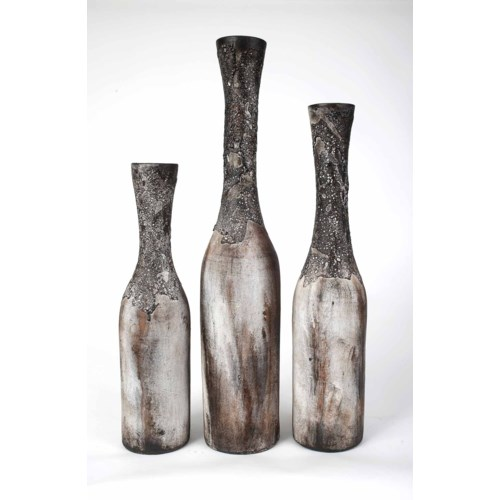 Set of 3 Table Bottles in Moss Green Finish