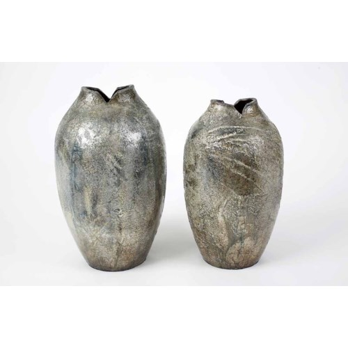 Set of 2 Table Fish Vases in Silver Chalice