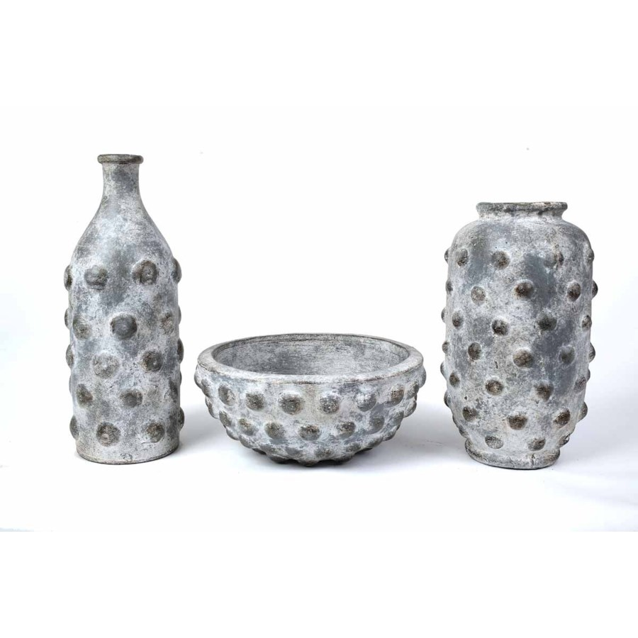 Set of 3 Studded Vases and Bowl in Fossil Finish
