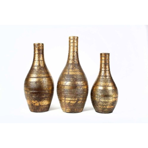 Set of 3 Striped Table Bottles in Tawny Finish