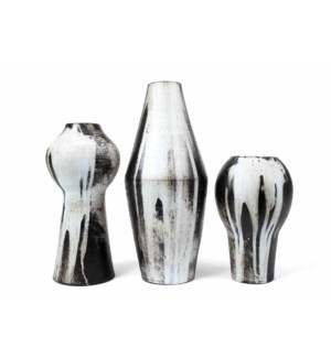 Set of 3 Table Vases in Gray Night Finish