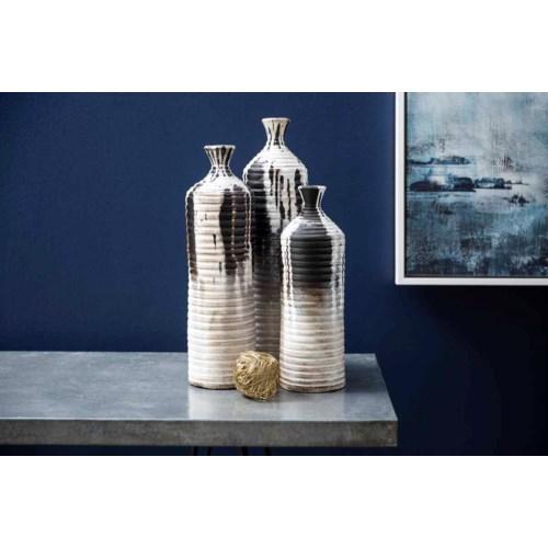 Set of 3 Vases in Cracked Slate Finish