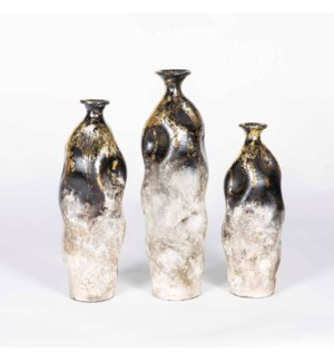 Set of 3 Crinkle Vases in Iron Gate