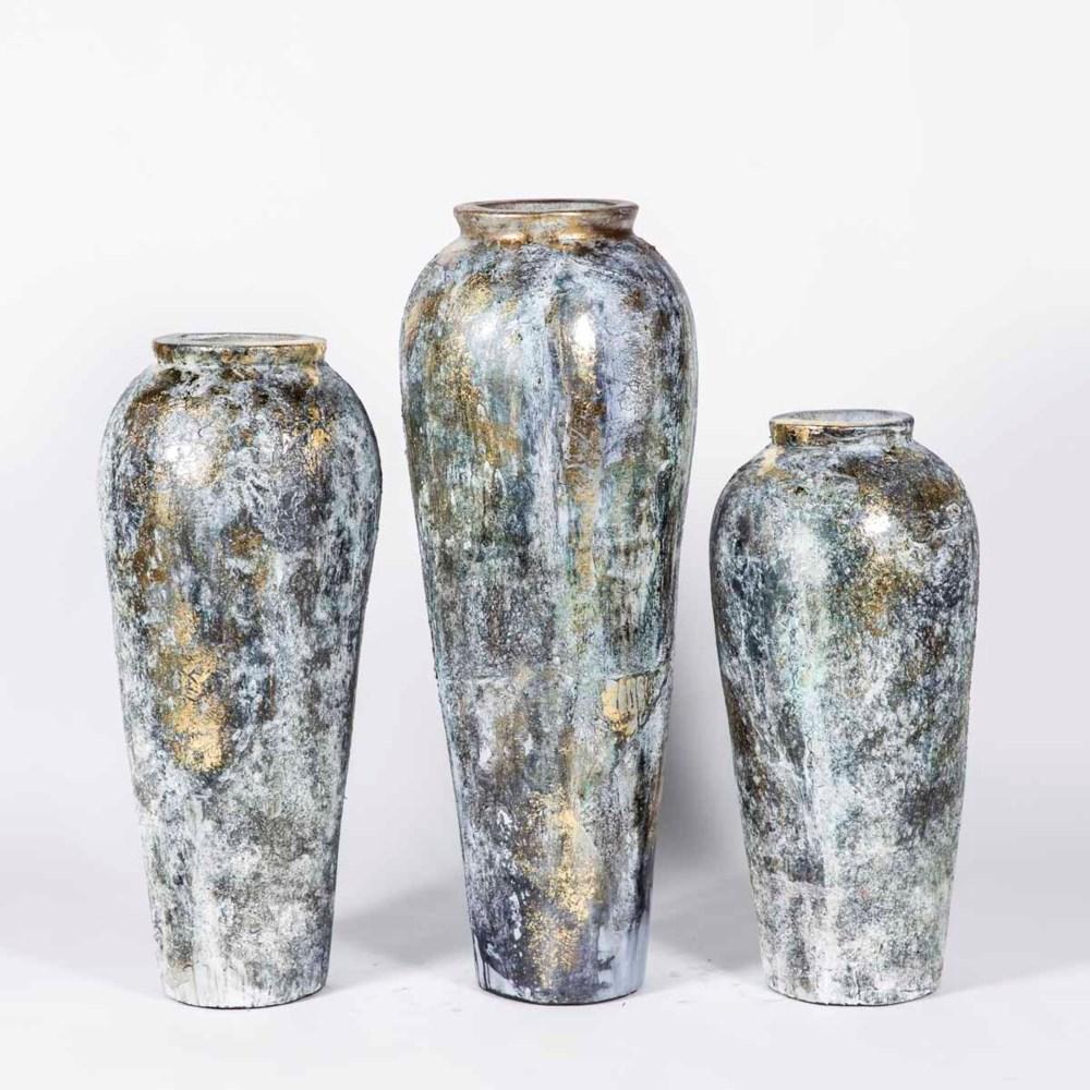 Set of 3 Floor Vases in Ancient Cloud Finish