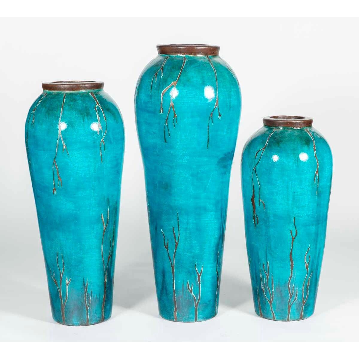 Set of 3 Seville Floor Vases in Aloha Finish