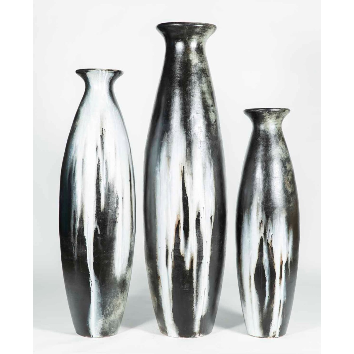 Set of 3 Floor Bottles in Cascade Gray Finish