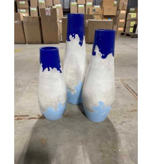 Set of 3 Long Drop Bottles in Blue Sky Finish