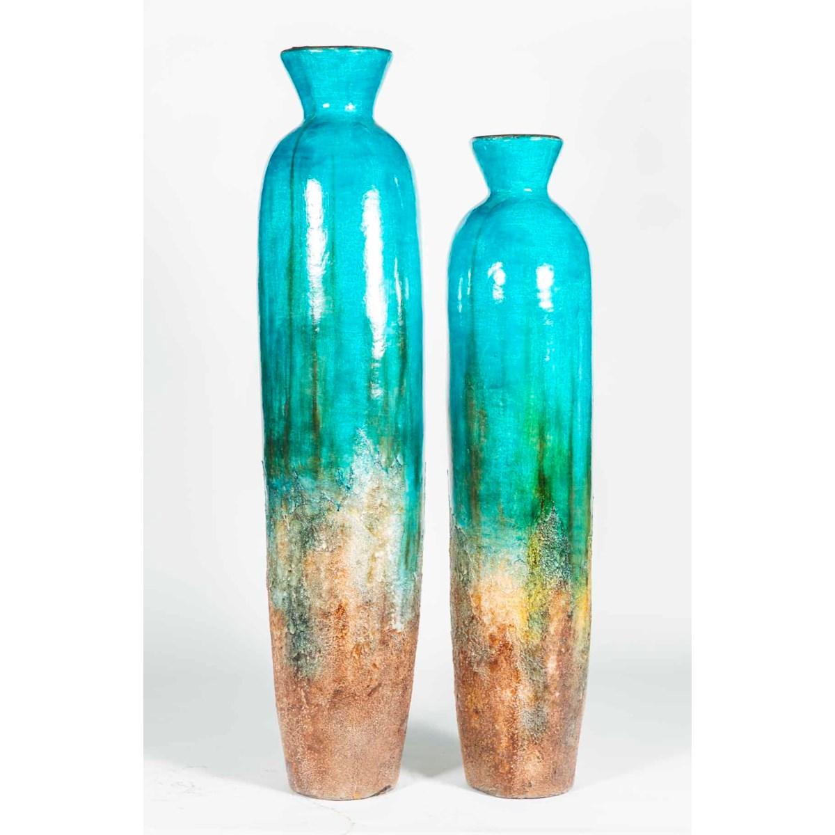 Set of 2 Floor Vases in Atlantic Coral Finish