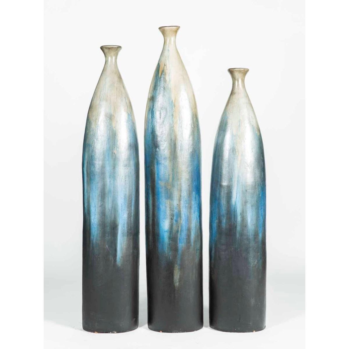 Set of 3 Floor Bottles in Overseas Finish