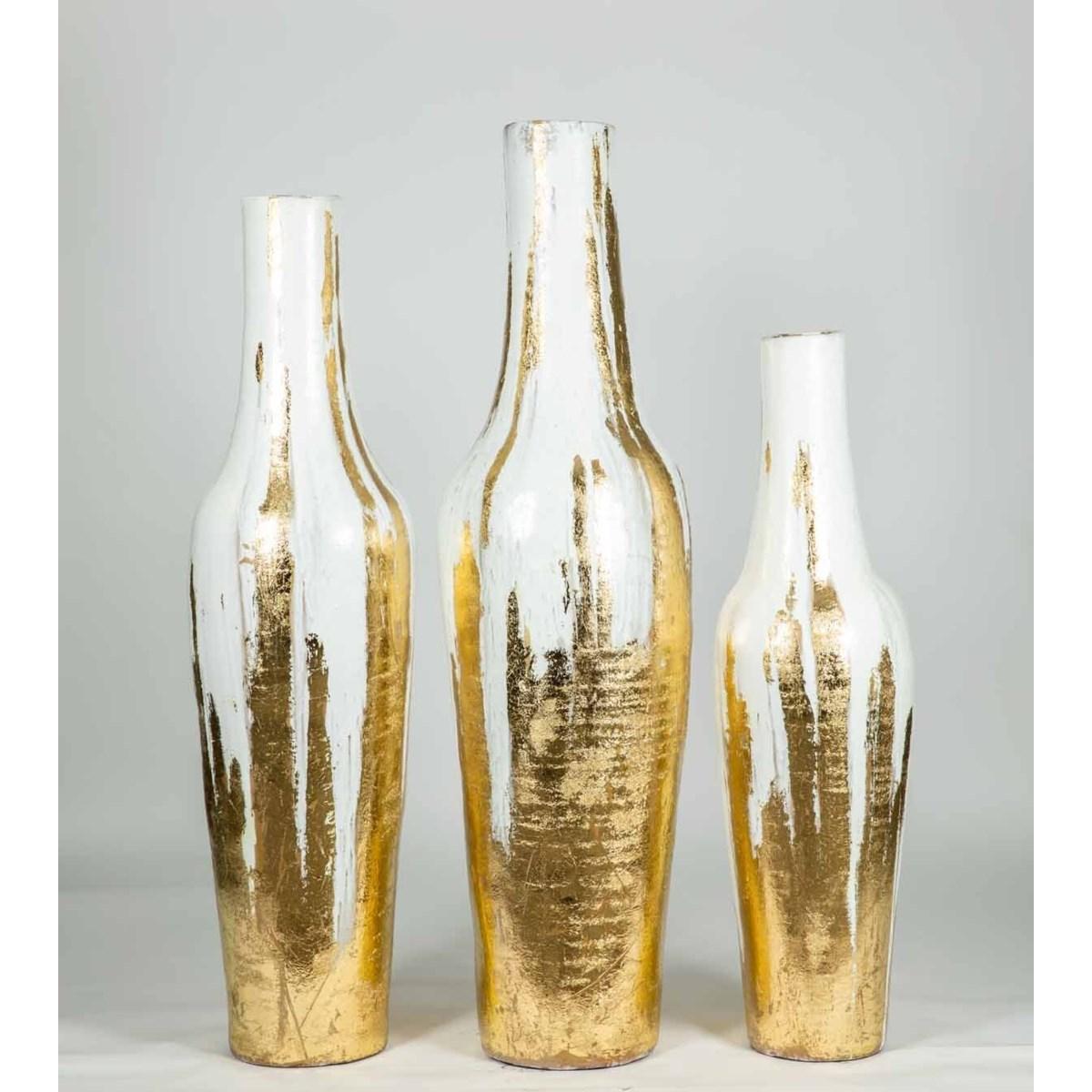 Large Floor Vase in Gold Leaf Finish