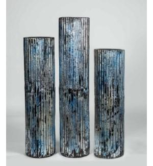 Set of 3 Floor Vases in Stone Blue Finish