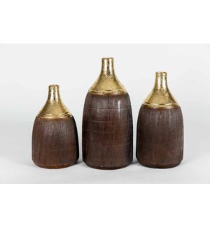 Set of 3 Bottles in Weathered Gold