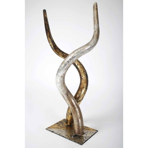 2 Horn Sculpture in Silver and Gold
