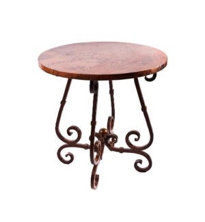 """French Bar Table with 40"""" Round Hammered Copper Top"""