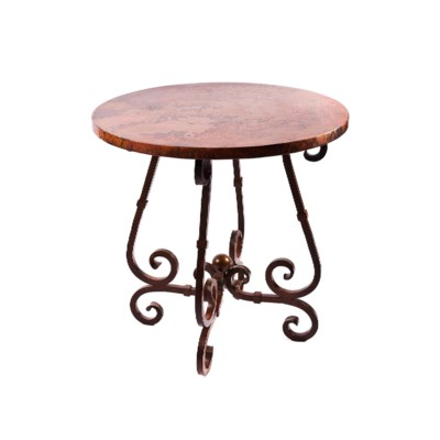 """""""French Bar Table with 40"""""""" Round Hammered Copper Top"""""""