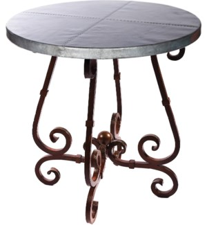 """French Bar Table with 40"""" Round Hammered Zinc Top"""